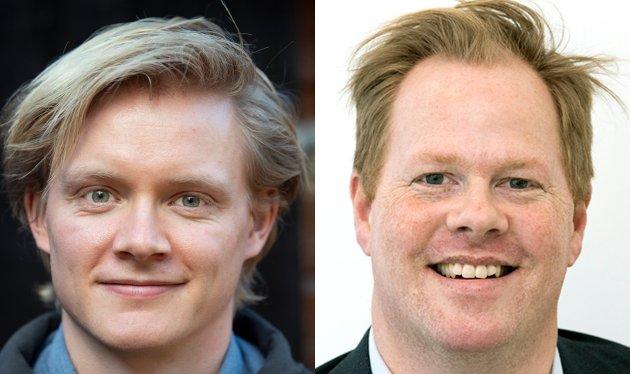 Anders Brabrand (Ap) og Oddvar Møllerløkken (H) diskuterer sykehuspolitikk og sentralsering.