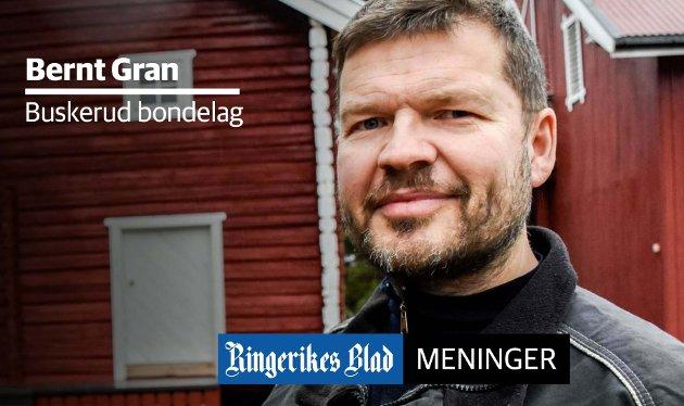VIKTIG: – Landbruket er svært viktig for Buskerud, skriver Bernt Gran i bondelaget.