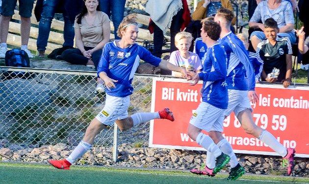 Espen Thømt kom inn som innbytter og markerte seg. Her har han akkurat scoret 1-1-målet til Askim FK 20 minutter ut i andre omgang. Men det ville seg ikke for Askim FK. Trø/Bå vant til slutt 2-1.
