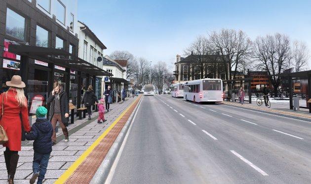 FREMTIDEN? Møllegaten skal legges til rette for busstrafikk ifølge Tønsberg kommunes gatebruksplan. I fremtiden kan det gå så mye som en buss i minuttet her i rushtidene.