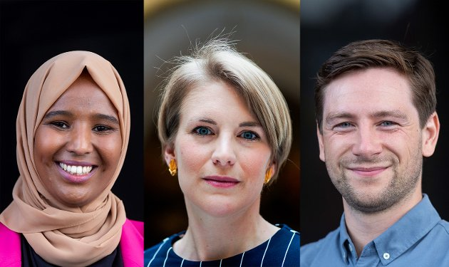 TI PUNKTER: SV-kandidatene fra venstre: Marian Hussein, Kari Elisabeth Kaski og Andreas Unneland kommer med sine ti punkter for å gjøre Oslo til en grønnere by med mindre forskjeller.