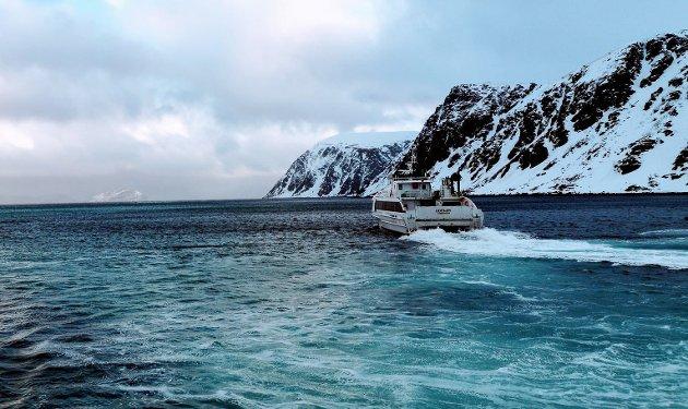 Hurtigbåten ut fra Hellefjord. Illustrasjonsbilde