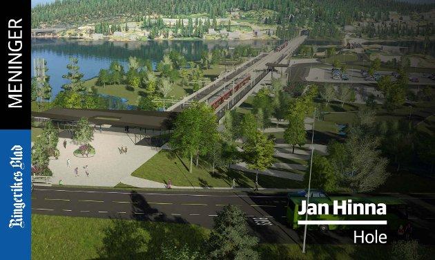 NAIVT: – Å tro at Hole og Sundvollen skal få en jernbanestasjon og «bystatus», er naivt, skriver Jan Hinna.