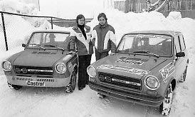 1978: Rallykjører Stein Grøndal (t.h.) før et løp i januar 1978.  januar 1978