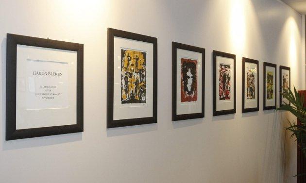 Kunstvandring på Fru Haugans Hotel i Mosjøen. Hotellet har samlet kunstverk opp gjennom årene, og de har flere hundre kunstverk spredd i alle bygningene i fellesrom og i de 129 gjesterommene. 12 litografier av Håkon Bleken henger i lobbyen.