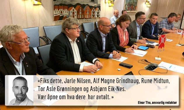 VIS HVA DERE HAR AVTALT: Asbjørn Eik-Nes (V), Einar R. Endresen (Frp), Rune Midtun (Frp),  Svanhild Lygre Andersen (Ap), Jarle Nilsen (Ap), Alf Magne Grindhaug (KrF) og Tor Asle Grønningen (Sp) har fortalt litt om hva de har avtalt. De bør legge fram den politiske plattformen skriftlig.