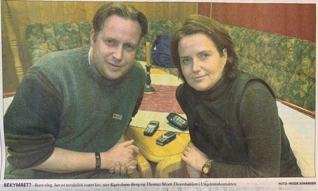 Ungdomskontaktene Thomas Moen Thoenbakken og Kari-Anne Berg.