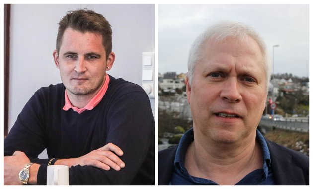 """KONFLIKT: Morten Øglend (Frp) beskyldte kommunikasjonssjef Leif E. Broch (til høyre) og kommunen for """"komplikasjoner og mistenkeliggjøring"""" da han i nærmere halvannet år måtte kjempe for å få refusjon for tapt arbeidsfortjeneste. I etterkant har han anmodet rådmannen om å åpne personalsak mot Broch, som han mener har trakassert ham helt siden han trådte inn i politikken. Broch avviser påstandene og mener kommunen har krevd samme dokumentasjon fra Øglend som av alle andre."""