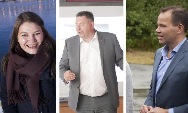 Dritten i midten: Narvik-ordfører Rune Edvardsen (i midten) må føles seg som et skilsmissebarn i en opprivende barnefordelingssak mellom en forsmådd mor og en herskesyk far. Til venstre Cecilie Myrseth, fylkesrådsleder i Troms og til høyre, Tomas Norvoll fra Nordland. Alle tre er for øvrig partifeller.