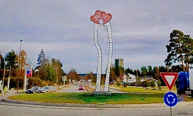 SÅNN BLIR SKULPTUREN: Omtrent sånn blir Geir Hjetlands over ni meter høye skulptur i rundkjøringen ved Basthjørnet når den står ferdig høsten 2022.
