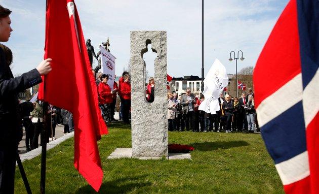 Haugesund 20170501 1 mai tog i Haugesund Marthe Knutsen AUF holdt appell ved 22 juli minnesmerke
