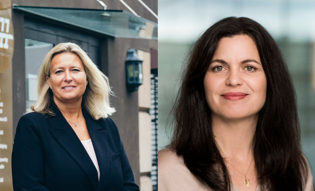 Mariann Karlsen, leder for Sarpsborg Næringsforening, og Nina Solli, regiondirektør i NHO Viken Oslo. (Foto: Sarpsborg Næringsforening/Moment Studio)