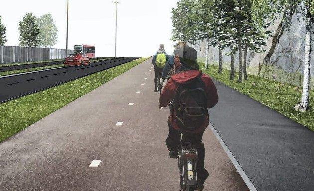 Fristende? De gode betingelsene for gående, syklister og busser, skal friste folk til å la bilen stå.