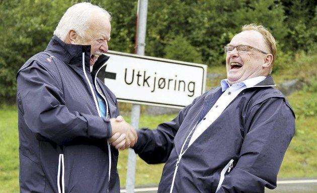 Det var en gang: FrPs 1.-kandidat, Vegard Mork, og FrP-nestleder Per Sandberg, fant raskt tonen da de snakket om fengsel på Grelland i 2015. Foto: Pål Nordby