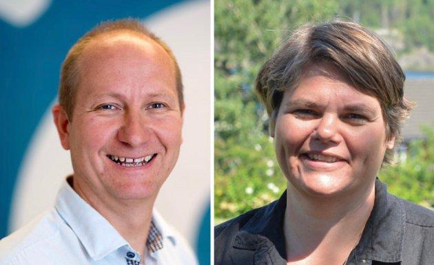 Regionsjef Jørn Evensen i Maskinentreprenørenes forbund og daglig leder Janna Pihl i Kragerø næringsforening.