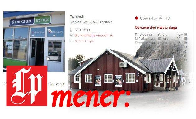 Skjermdump fra vinbudin.is. med informasjon om vinboden i Þórshöfn.