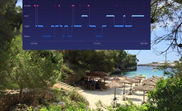 DRØMMER: 80 prosent av drømmene kommer i REM-søvnen. Hvorfor får jeg ikke palmer, solskinn og en varm ferie? FOTO: Privat/fitbit