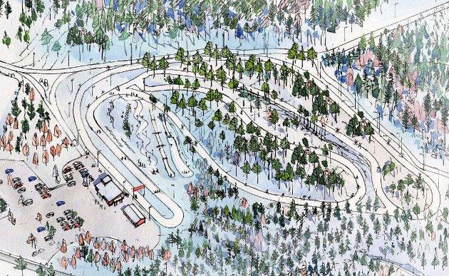 STØTTES: En parkeringsplass (nederst til venstre) inne på Fredrikstad Skiarena har ligget inne planene til Fredrikstad Skiklubb hele tiden. og Fredriksstad Blad gir dem full støtte. Foto: SG Arkitekter