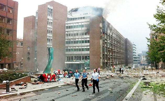 22. juli 2011: Terror i Oslo ved Regjeringskvartalet.