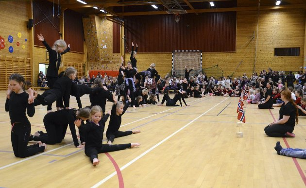 FLOTT SHOW: Oppvisningstroppen fra Uvdal turn bød på flott dans under Numedalsstevnet.
