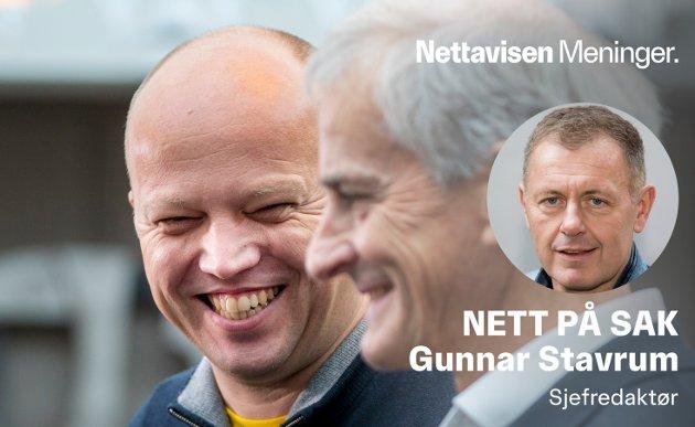 SMIL OG LETTELSE: Verken Senterpartiets Trygve Slagsvold Vedum eller Arbeiderpartiet Jonas Gahr Støre ser deprimerte ut etter at SV trakk seg fra sonderingene.