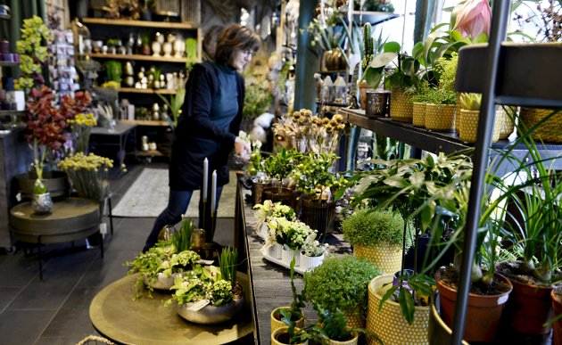 AKTIVITET: Færre i butikken, men mange på telefonen – både hos Myra Blomst (bildet) og andre blomsterbutikker. Foto: Eilif Odde