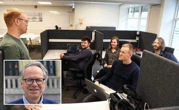 UNG FRAMTID: Markus Bekken (t.v), Yury Rogachev, Caroline Hesthagen Holen, Joakim Melseth og Morten Haugen, alle i DevOtta AS, en virksomhet i god vekst, skriver Hallvard Grotli.