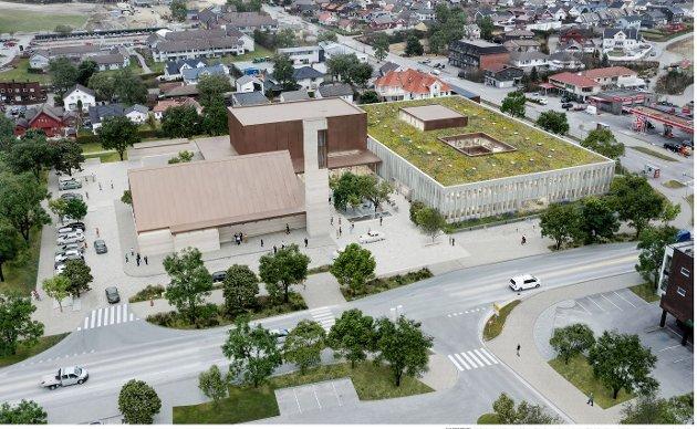 Dette er et av forslagene til hvordan det kombinerte rådhus- og kirkebygget i Klepp kan bli.