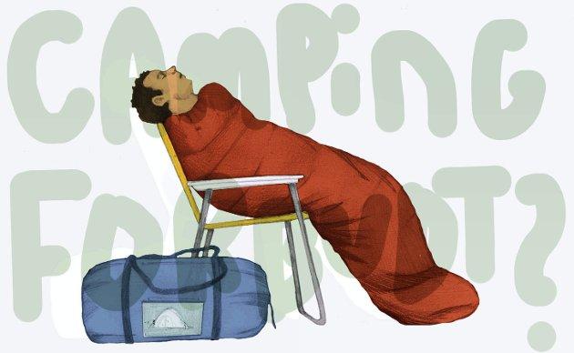 Fortsatt ikke lov med telt: Men uten å vite om reglene, som ikke er skiltet noe sted. På tide med endring? Illustrasjon: Marianne Karlsen