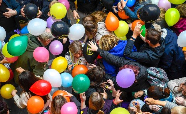 Ballongfest på Mosenteret da de reåpnet etter oppussing.