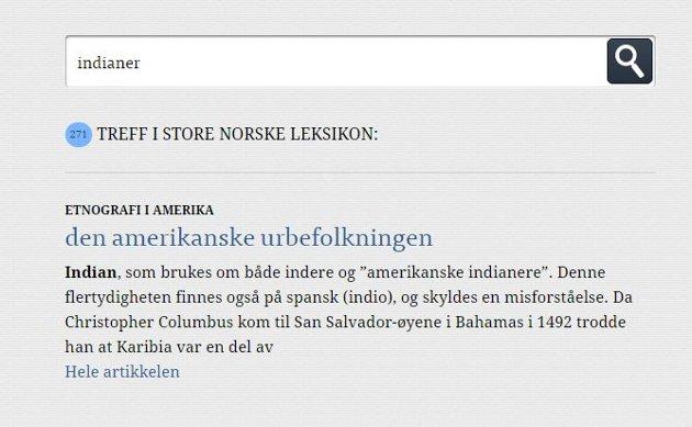 INDIANER: Søker man på «indianer» i Store norske leksikon, kommer denne artikkelen opp.