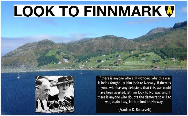 Saraby i Finnmark. President Roosevelt med kronprinsesse Märtha ved sin side under hans Look to Norway-tale