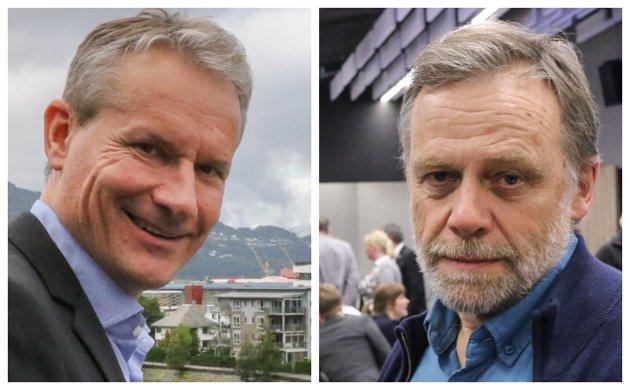 UKLAR: At  ordførar Olve Grotle (H)  er uklar om vindkraft, skaper problem for søskenparet på Øksland, meiner Åsmund Berthelsen (SV). Berthelsen t.h.