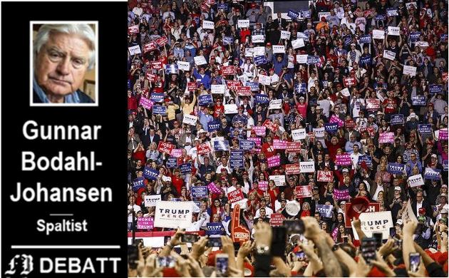 Et splittet usa: –  Den kritiske holdningen til Donald Trump i norske medier, gjenspeiler holdningen i de liberale mediene i USA, skriver Bodahl-Johansen. Dette bildet, fra et «Make America Great Again-møte» i Houston i oktober i fjor forteller om tilhengernes sterke støtte.