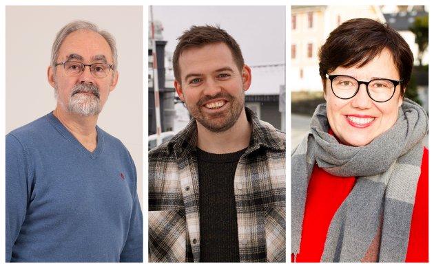 Geir Oldeide (Raudt), Torbjørn Vereide (Ap) og Hege Lothe (Sv) ber Statkraft ta samfunnsansvar for trappene i Høyanger.