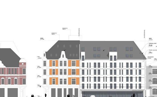 IKKE BRUDD: Slik blir hotellet, tilpasset eksisterende bebyggelse.