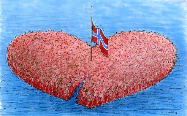 NAs tegner Knut Høihjelle lagde denne illustrasjonen for å uttrykke sorgen og samholdet som preget oss for ti år siden.