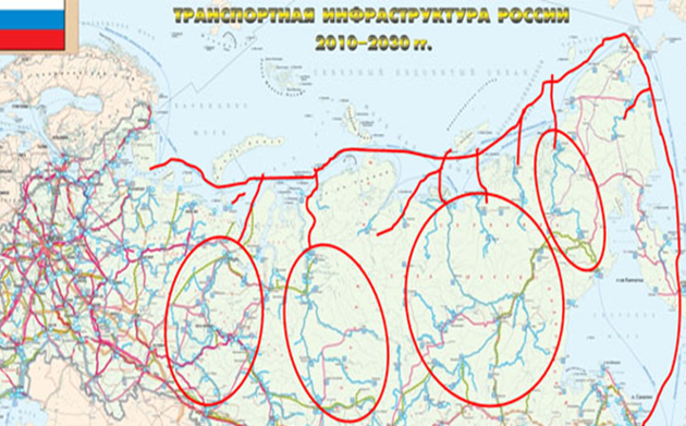 Ringene viser de regionene med tilhørende havnebyer som kan dra nytte av den nordlige sjøruta, enten via elvetransport eller jernbaner