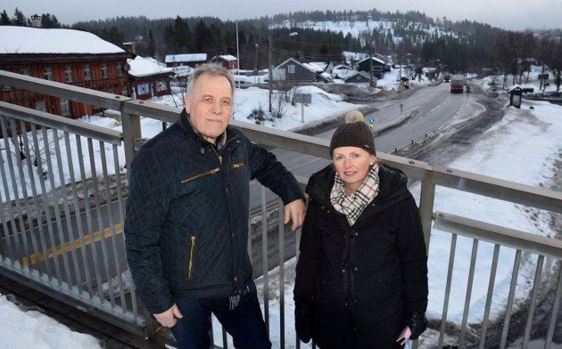 KREVER: Sollihøgda Vel krever at Hole kommune tar opp kampen med veivesenet slik at boliger før utkjøringstillatelse før nye E16 er ferdig. Leder Jorun Skaret og styremedlem/sekretær Svein Solheim.