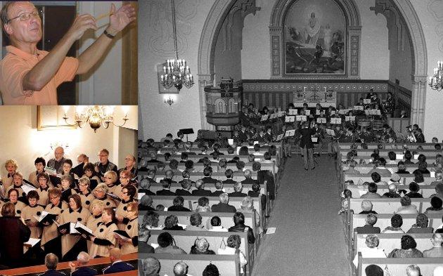Har gjort det før: Eyvind Andreassen har dirigert Hauge Musikkorps i 31 år. Bildet av Trivselkoret er fra konserten i 2010. Det store bildet viser kropset i smekkfull kirke i 1988 i Eyvind Andreassens 5. adventskonsert. Egil Brandt, aktiv FB-frilanser som dekket en rekke kor- og korpskonserter, tok bildet.