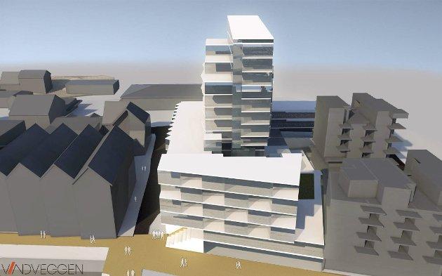 14 etasjer: Vindveggen artiktekter har skissert planene til Erik Blomstrand og Frikar på gamle Jern og Bygg og områdene rundt. Her sett fra kaikanten.