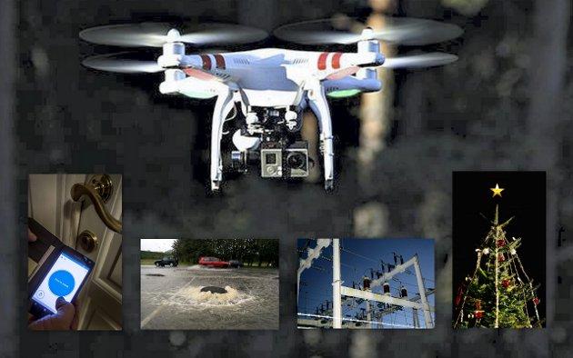 Smart styring: Droner vil bli brukt i overvåking av kraftlinjer. Kumlokk får ustyr som gjør av oversvømmelser kan varsles tidlig, dørlåser kan brukes uavhengig av nøkkel. Og lysene på juletreet, de styres fra mobilen.