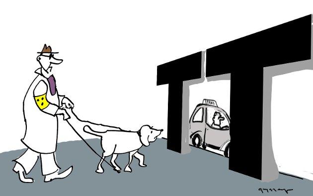 Simen Lind Andersen skriver på vegne av seg selv og andre funksjonshemmede som er redd transporttjenesten misbrukes til hyggeturer. (Arkivtegning: Jørn Grynnerup)