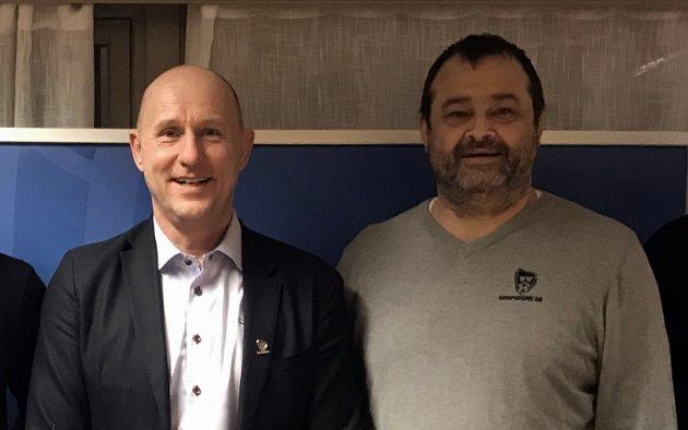 PÅ HVER SIN SIDE: Cato Haug og Jan Kristian Fjærestad står på hver sin side i en konflikt innad i Sarpsborg 08. De to er uenige i hvordan klubben skal drives.