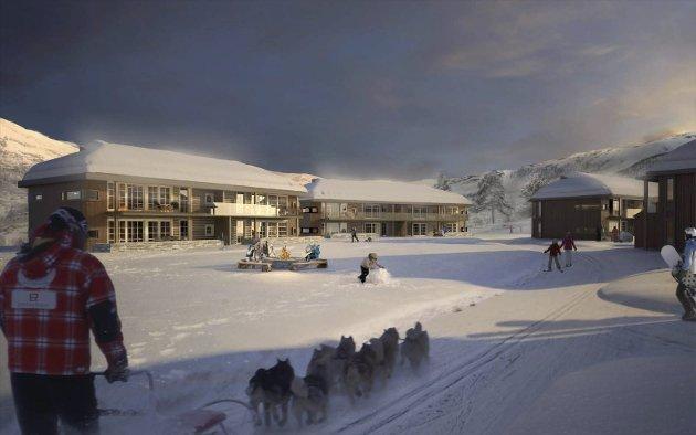 Slik: Dette er visjonen aktørane bak Eidfjord Resort ser for seg. Det er innleggsforfattaren skeptisk til. Illustrasjon: Eidfjord Resort