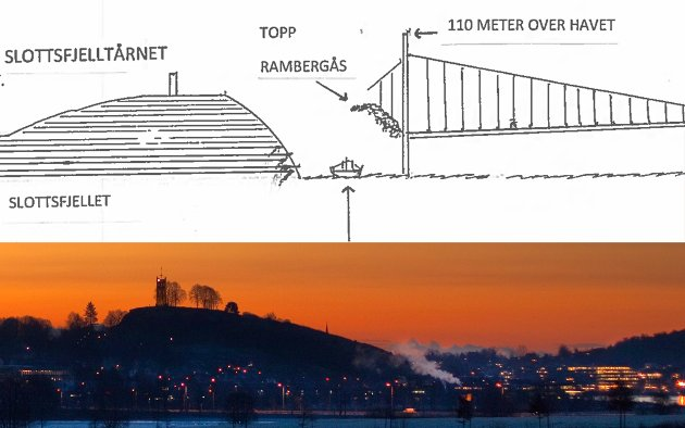 TAR IKKE HENSYN TIL KULTURMILJØET: Det mener Tore Moskvil, som har skisset inn høyden på brualternativet, for å sammenlikne bruas høyeste punkt med høyden på tårnet på Slottsfjellet.