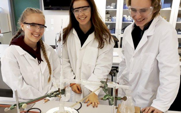 Spennende fag: Lillian Valø Bjertnes (t.v.), Christina Monet Røed og Sindre Christoffer Andresen syntes at kjemi er spennende, og kommer sammen med resten av kjemi 1 med morsomme fakta når det gjelder vannmolekyler.