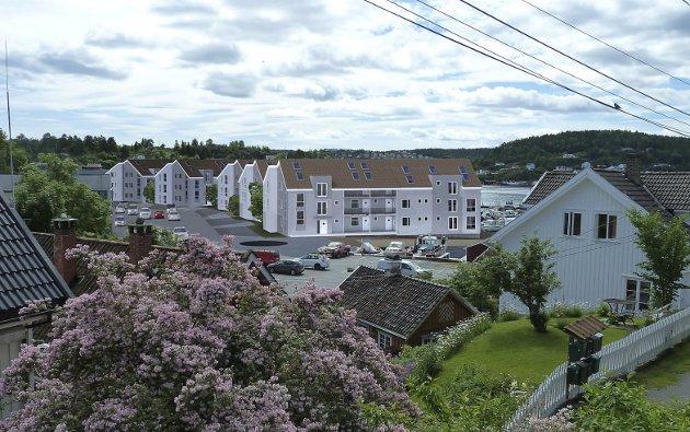 Fra Smedsbukta: Illustrasjon for utbyggingsplanene for Skrubbodden.Illustrasjon: Arkitekthuset Kragerø