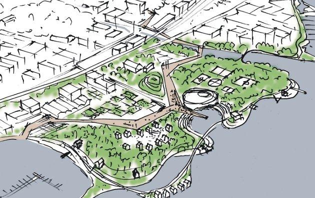UANTE MULIGHETER: Det danske arkitektkontoret Urban Power har skissert muligheter på Huntonstranda, også uten boligbygging. Her skal musikken og kulturen møte naturen og vannet.