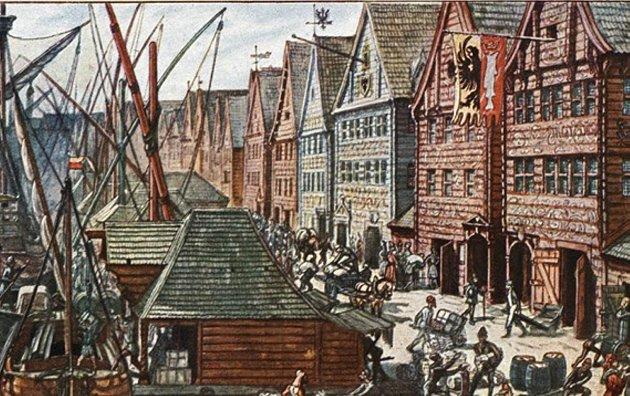 – Bjørgvin unngikk å bli en bakevje – takket være Hansaforbundet, skriver Erling Gjelsvik i siste del av serien om svartedauden i Bergen. Illustrasjon: Museum Vest